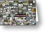 Cityscape Pyrography Greeting Cards - Old Vancouver Collage Greeting Card by Janos Kovac