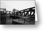 Rennie Greeting Cards - Old Victoria Swing Railway Bridge To Rennies Isle In Leith Docks Shore Edinburgh Greeting Card by Joe Fox