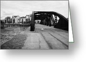 Rennie Greeting Cards - Old Victoria Swing Railway Bridge To Rennies Isle In Leith Docks Shore Edinburgh Scotland Greeting Card by Joe Fox
