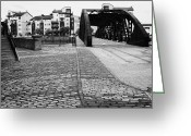 Rennie Greeting Cards - Old Victoria Swing Railway Bridge To Rennies Isle In Leith Docks Shore Edinburgh Scotland Uk United  Greeting Card by Joe Fox