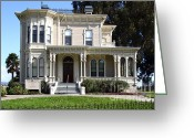 Vintage House Greeting Cards - Old Victorian Camron-Stanford House . Oakland California . 7D13440 Greeting Card by Wingsdomain Art and Photography