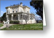 Vintage House Greeting Cards - Old Victorian Camron-Stanford House . Oakland California . 7D13445 Greeting Card by Wingsdomain Art and Photography