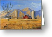 Red Barn Greeting Cards - Old Vineyard Dairy Farm Greeting Card by Jeff Brimley