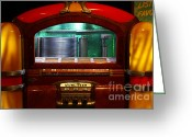 Vinyl Greeting Cards - Old Vintage Wurlitzer Jukebox . 7D13100 Greeting Card by Wingsdomain Art and Photography