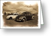Lowered Greeting Cards - Old VW Beetles Greeting Card by Steve McKinzie