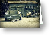 Shelter Prints Greeting Cards Greeting Cards - Old Wagon and Old Shed Greeting Card by Ester  Rogers