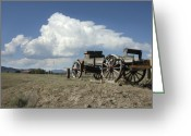 Wheels Greeting Cards - Old Wagon Out West Greeting Card by Jerry McElroy