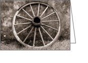 Old Wall Greeting Cards - Old Wagon Wheel Greeting Card by Olivier Le Queinec