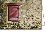Red Door Greeting Cards - Old Wall and Door Greeting Card by Olivier Le Queinec