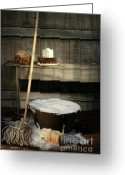 Household Greeting Cards - Old wash bucket with mop and brushes Greeting Card by Sandra Cunningham