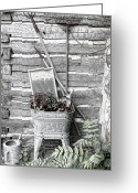 Graden Digital Art Greeting Cards - Old Wash Tub with Flowers and Garden tools Sketch Greeting Card by Linda Phelps