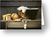 Washing Greeting Cards - Old wash tub with soap on bench Greeting Card by Sandra Cunningham