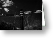 Signpost Greeting Cards - Old Waypoint Signpost On The Newry Portadown Canal In Scarva Village County Down  Greeting Card by Joe Fox