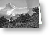 Western Sky Greeting Cards - Old West Sunset BW Greeting Card by Dan Turner