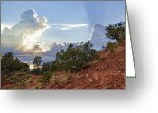 Western Sky Greeting Cards - Old West Sunset Greeting Card by Dan Turner