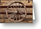 Kelley King Greeting Cards - Old West Wheel Greeting Card by Kelley King