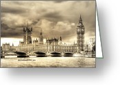 Old England Greeting Cards - Old Westminster in London Greeting Card by Vicki Jauron