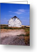 Landscape Greeting Cards Greeting Cards - Old White Barn Greeting Card by Kathy Yates