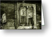 Cabin Wall Greeting Cards - Old window Greeting Card by Emanuel Tanjala