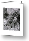 Gift For A Mixed Media Greeting Cards - Old Woman Seated Greeting Card by Omar Sangiovanni