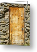 Rocky Mountains Greeting Cards Greeting Cards - Old Wood Door and Stone - Vertical  Greeting Card by James Bo Insogna
