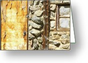 Rocky Mountains Greeting Cards Greeting Cards - Old Wood Door Window and Stone Greeting Card by James Bo Insogna