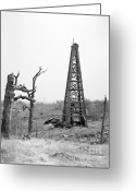 Oklahoma Greeting Cards - Old Wooden Oil Derrick Greeting Card by Larry Keahey