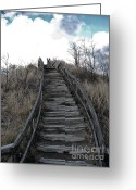 Dreary Greeting Cards - Old Wooden Stairs Leading up to Top of a Sand Dune Greeting Card by Purcell Pictures