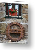 Old Wall Greeting Cards - Old Wooden Wheel Greeting Card by Carlos Caetano