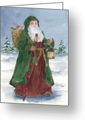 Christmas Trees Greeting Cards - Old World Father Christmas Greeting Card by Barbel Amos