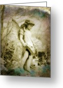 Surreal Gothic Angel Photography Greeting Cards - Old World Greeting Card by Gothicolors With Crows