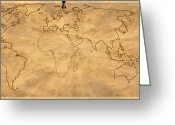 Earth Map Greeting Cards - Old World Map digital art Greeting Card by Georgeta  Blanaru