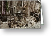 Handicraft Greeting Cards - Old World Market Greeting Card by Joan Carroll