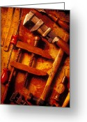 Monkey Greeting Cards - Old Worn Tools Greeting Card by Garry Gay