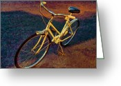 Old Bike Greeting Cards - Old Yellow Greeting Card by Steven Richardson