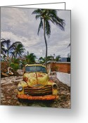Trucks Greeting Cards - Old yellow truck Florida Greeting Card by Garry Gay