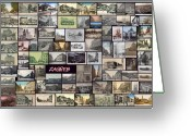 Cityscape Pyrography Greeting Cards - Old Zagreb Collage Greeting Card by Janos Kovac