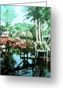 Florida Bridge Mixed Media Greeting Cards - Olde Cypress Gardens Greeting Card by Florene Welebny