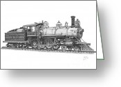Coal Burner Greeting Cards - Older Steam Locomotive Greeting Card by Calvert Koerber