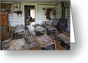 Ink Well Greeting Cards - OLDEST SCHOOL HOUSE c. 1863 - MONTANA TERRITORY Greeting Card by Daniel Hagerman