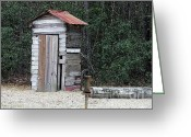Mixed Media Photo Greeting Cards - Oldtime Outhouse - Digital Art Greeting Card by Al Powell Photography USA
