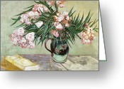 Books Greeting Cards - Oleanders and Books Greeting Card by Vincent van Gogh
