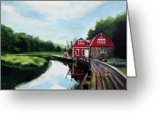 Greenwich Greeting Cards - Oles Boathouse in Riverside Connecticut Greeting Card by Colleen Proppe
