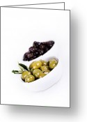 Gourmet Vegetable Greeting Cards - Olive bowls Greeting Card by Jane Rix