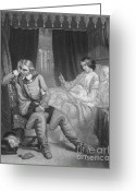 Head Of State Greeting Cards - Oliver Cromwell And His Dying Daughter Greeting Card by Photo Researchers