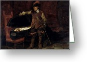 Coffin Greeting Cards - Oliver Cromwell Opening the Coffin of Charles I  Greeting Card by Hippolyte Delaroche
