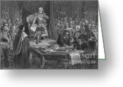 Head Of State Greeting Cards - Oliver Cromwell Refusing The Crown Greeting Card by Photo Researchers