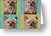 Dog Portrait Digital Art Greeting Cards - Oliver Times Four Greeting Card by Susan Stone