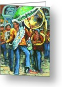 Second Greeting Cards - Olympia Brass Band Greeting Card by Dianne Parks