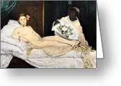 Olympia Greeting Cards - Olympia Greeting Card by Edouard Manet